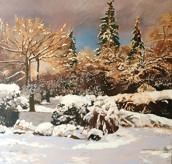 """ICE STORM FANTASY: This work by Joan McGivney features """"painterly use of colour"""" to bring a stronger visual effect to the landscape."""