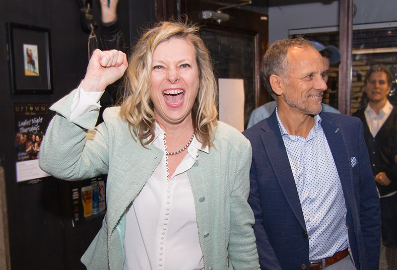 Robinson and husband at Don Valley West victory party.