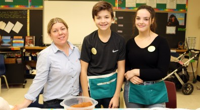 ISABELLE Belga is joined by North Toronto CI students Ersi, middle, and Rita at the dessert table.