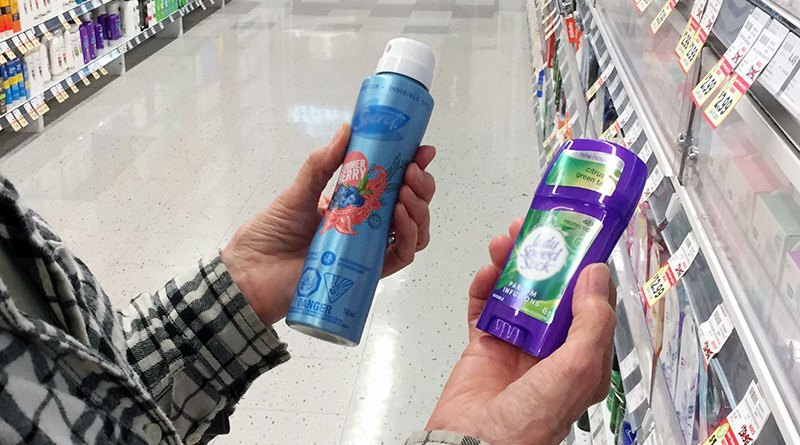 Deodorant being bought at store