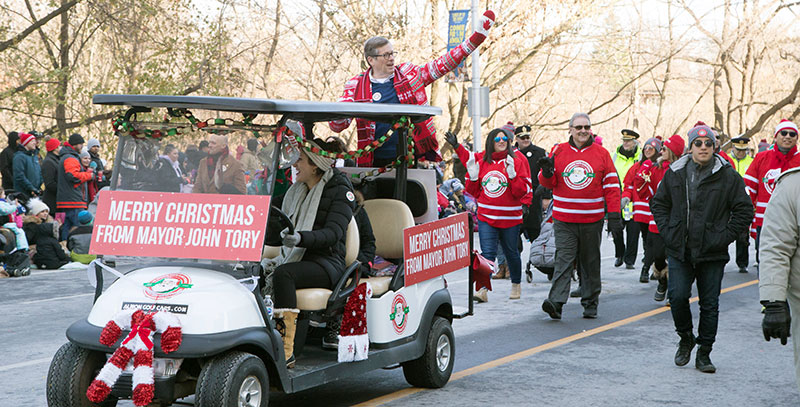 John Tory in Santa Claus parade