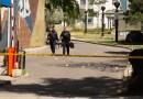 Police investiogating scene where man stabbed