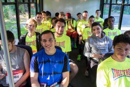 We had to make a couple of trips to transport our runners to the start line. Up front in the blue is Mauricio who ran in Streetfront`s first marathon returns.
