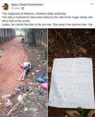 """Image result for """"I told you to leave my husband alone"""" – Note left besides allegedly murdered sidechic"""