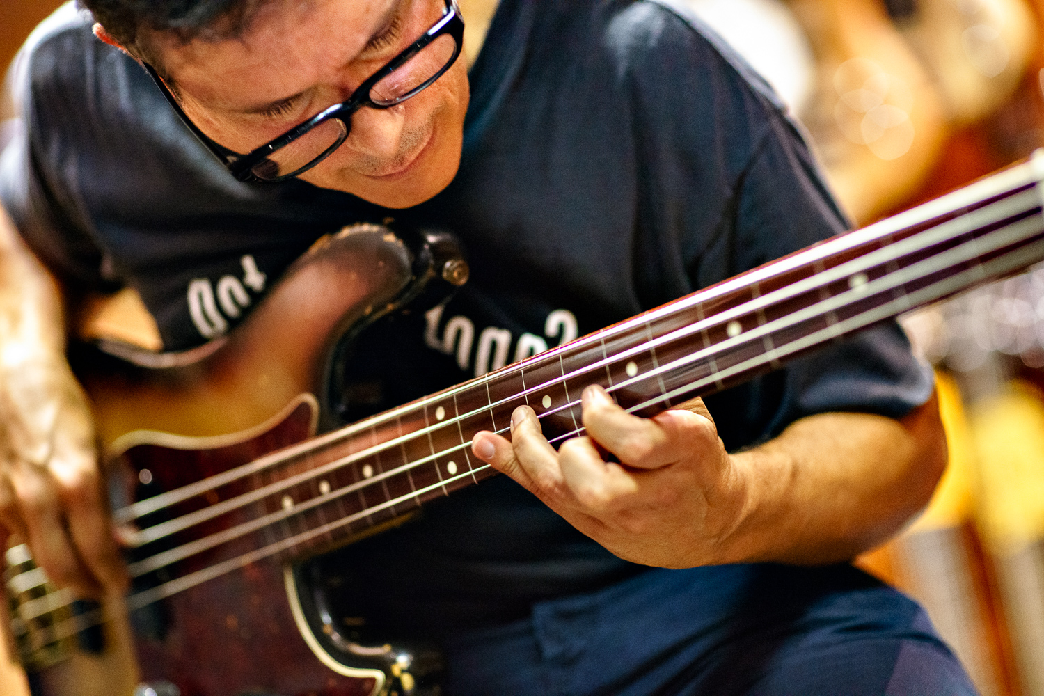 Juan Alderete, bass player with The Mars Volta  making an appearance at Wunjo Bass, Denmark Street, London WC2. Sony A7 + Canon FD 85mm f/1.2L