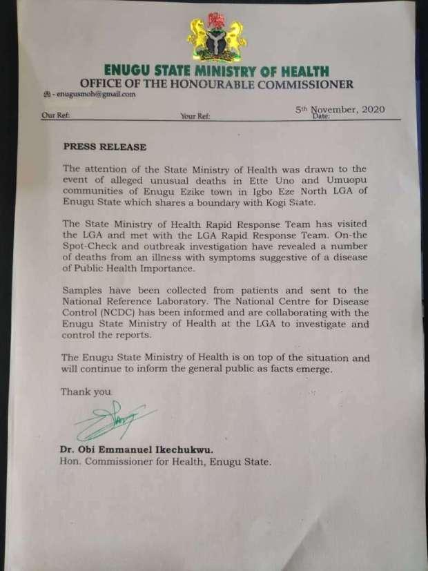 Alleged Unusual Deaths in Enugu Ezike: Enugu Govt Sends Patients' Samples for Investigation
