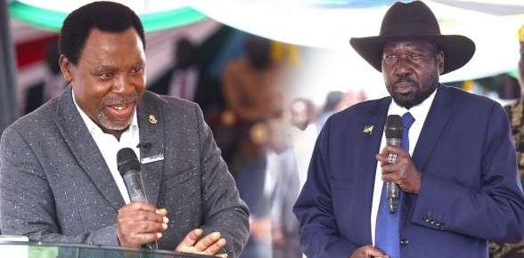 President Salva Kiir Mayardit of South Sudan and Prophet TB Joshua