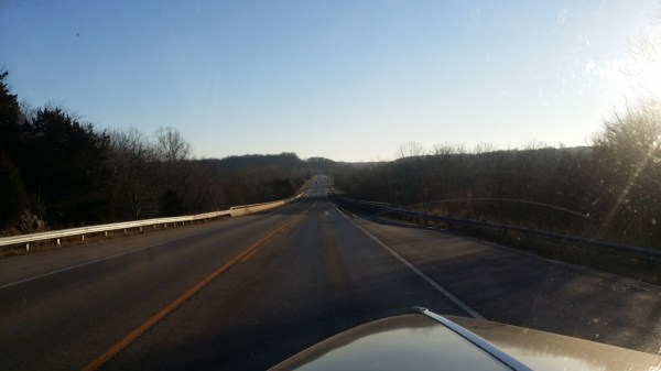 Approaching the bridge over the James River.