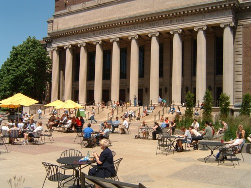 Lounging over a summertime lunch break at the University of Minnesota's Northrop Auditorium.