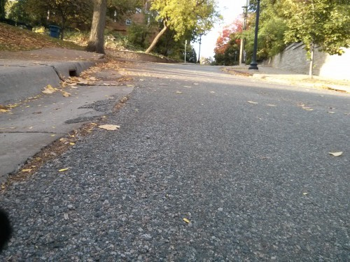 But this hill is steep enough it turns into a one-way uphill during snow/ice season.