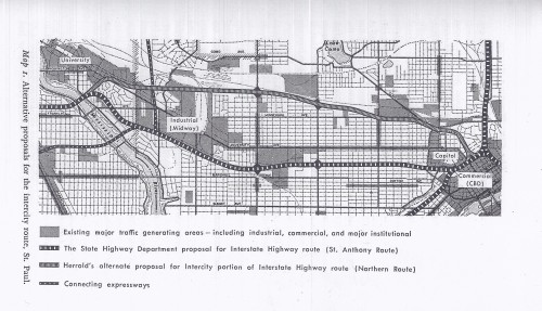 "Proposed Northern and St. Anthony Routes - from ""The City Planning Process: a Political Analysis)"