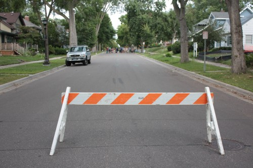 An official City of Saint Paul barricade.