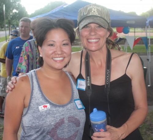 Neighbors Shawna Klatt, left, and Kristin Howatt, right, planned and hosted the party.