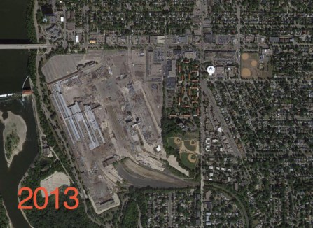 A 2013 aerial of the old Ford Plant site shows an area ripe for a grocery distribution center.