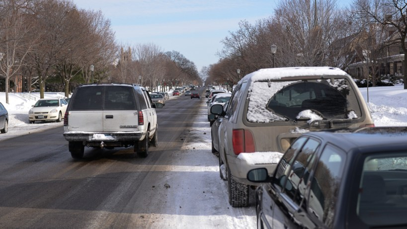 Summit Ave - This is a bike lane. I know you can't see it, but trust me, it's there, under the snow and parked cars.