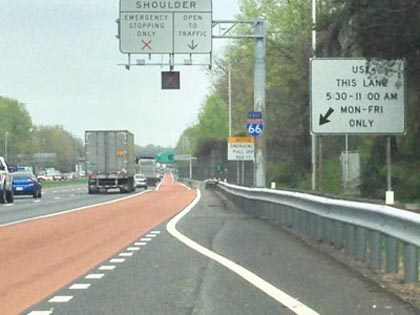 A dynamic shoulder lane in Virginia (the state). Photo by FHWA.