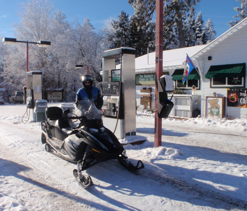 Snowmobilers frequently stop in Emmaville.
