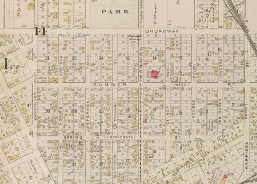 cropped version, umn18825, hclib, 1885 plat map,  Hopkins, Griffith Morgan