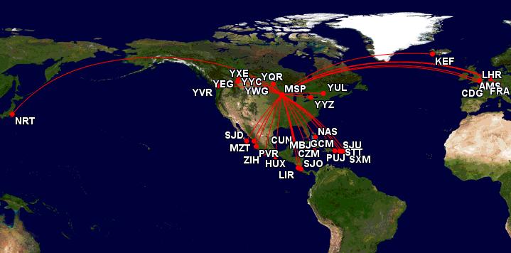 Destinations that can be reached by direct flight from MSP Airport. Source:  http://www.gcmap.com/mapui?P=MSP-YQR,+MSP-YYZ,+MSP-CDG,+MSP-LHR,+MSP-AMS,+MSP-FRA,+MSP-KEF,+MSP-YUL,+MSP-YWG,+MSP-YXE,+MSP-YEG,+MSP-YYC,+MSP-YVR,+MSP-NRT,+MSP-CUN,+MSP-CZM,+MSP-GCM,+MSP-ZIH,+MSP-LIR,+MSP-MZT,+MSP-MBJ,+MSP-NAS,+MSP-PVR,+MSP-PUJ,+MSP-SJO,+MSP-SJD,+MSP-SJU,+MSP-HUX,+MSP-SXM,+MSP-STT&MS=bm