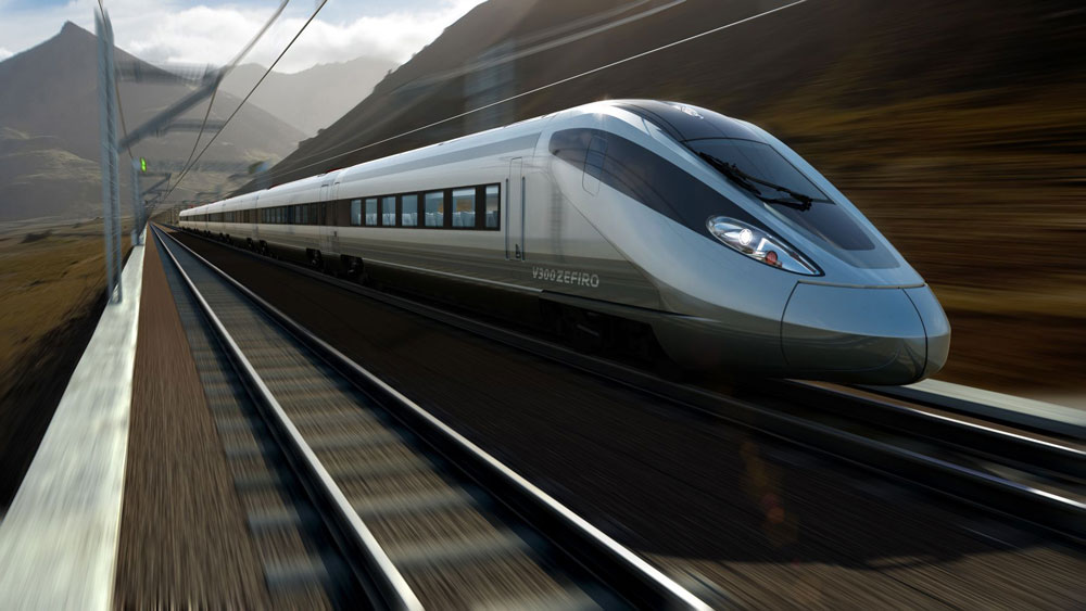 Generic picture of a high speed train with mountains in the background