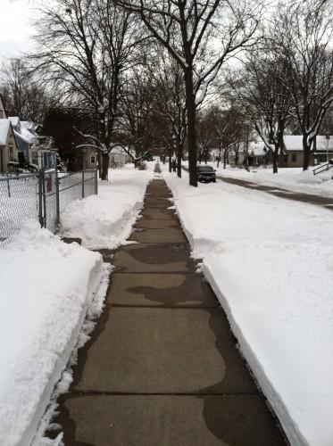 A well-shoveled sidewalk