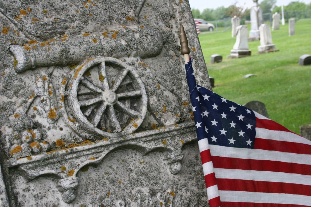 Cannon art in the Cannon City Cemetery denotes a Civil War soldier's grave.