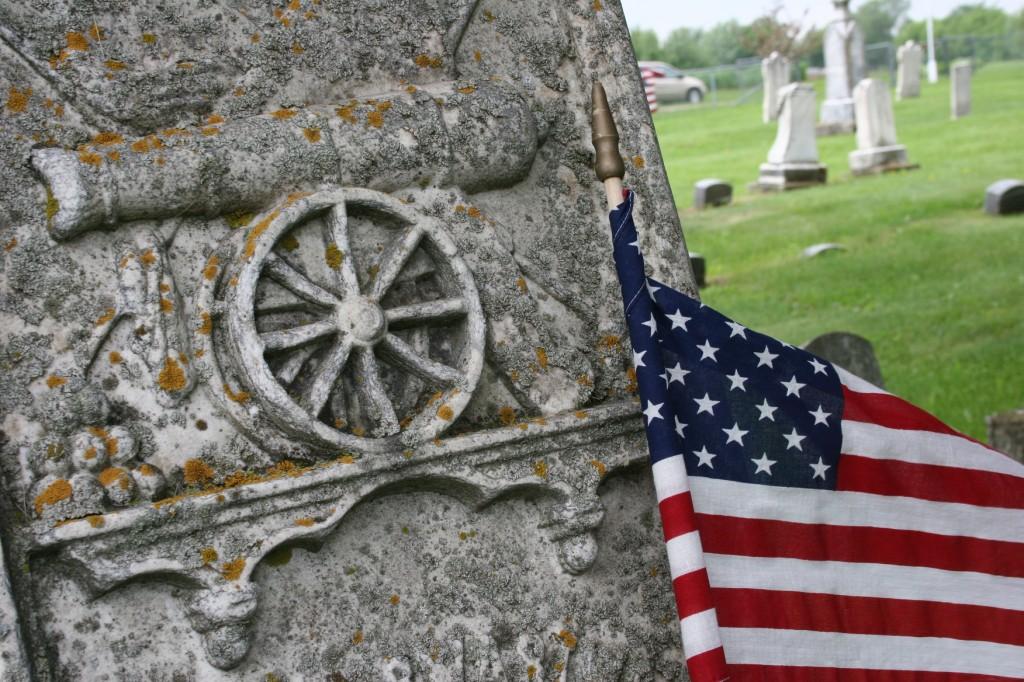 Cannon art in the Cannon City Cemetery denotes a Civil War soldier's grave.