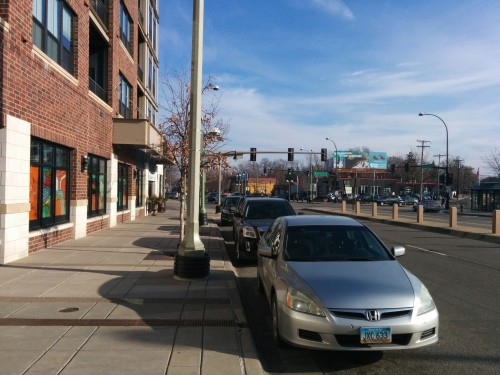 Excelsior Boulevard in St. Louis Park: attractive and meaningful frontage, with real entrances to businesses