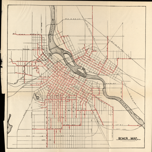 Map of 1889 Sewers in Minneapolis