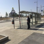 Lonely, but well-equipped bus stop in Aspern New Town Development