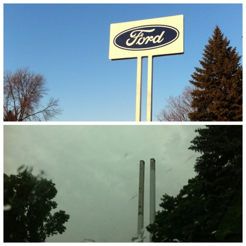 St. Paul Ford plant sign, before and then just the signposts