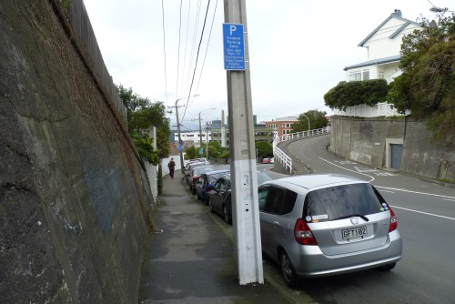 Coupon parking starting sign.