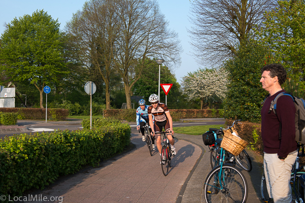 bike racers on path in netherlands