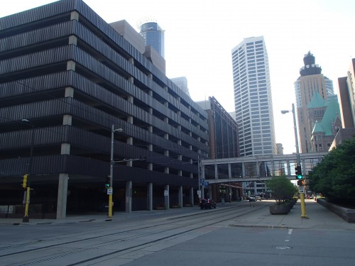 The parking ramps on 5th Avenue South are a barrier between the future Downtown East development and Government Plaza