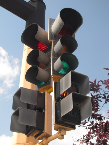 """""""Alusig"""" 8"""" and 12"""" combo. The 9"""" worded, incandescent pedestrian signals are virtually extinct. 65th St. and Lyndale Ave, Richfield"""