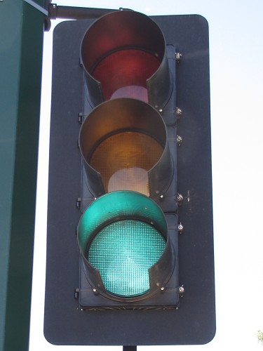 "Front view of a McCain 12"" vehicle signal, Valley View Road and Flying Cloud Drive, Eden Prairie"