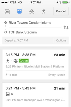 Transit Options for TCF Bank Stadium