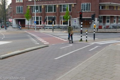 It is quite clear where bicycle riders should go and who has right-of-way (motor traffic must yield to bicycle riders).