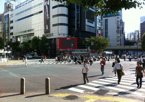 "The ""Scramble"", an enormous 5-way intersection in Shibuta, so-called because of the ped-only signal phase that permits crossing in every direction at once."