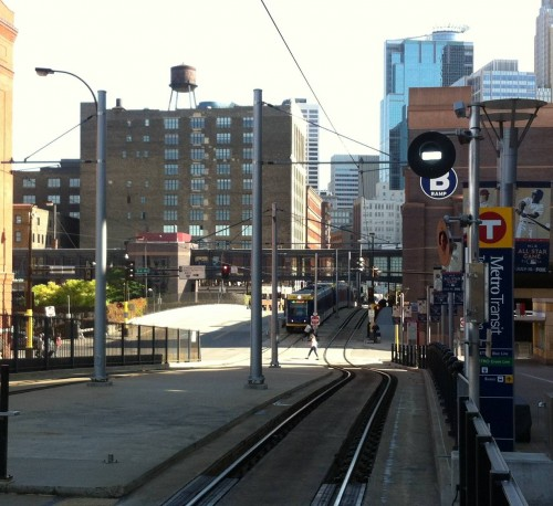 Almost every train stops at 3rd Avenue N., yet only one car per minute crosses the LRT here.