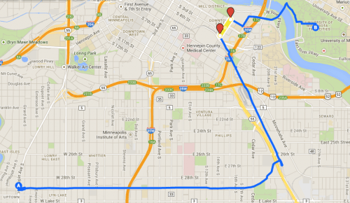 Morning route, via Dinkytown Greenway (source for all maps - Google Maps)