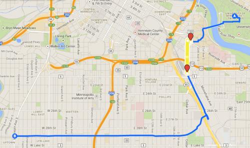 Afternoon Route, via Cedar Avenue