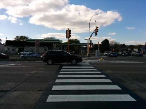 Motorist blocks the crosswalk on France Avenue