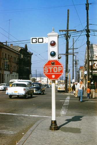 Acme Traffic Signal. Late at night the large red and green lights would go out, and the small red light in the stop sign would flash indicating a four-way stop. Alan Weeks, Metro Library and Archive