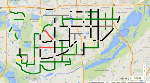 Green: 4-Lanes to 2/3 Lane, Red: Kept 4 Lanes. Black: Arterial, Grey: Not yet resurfaced, Orange: Under study