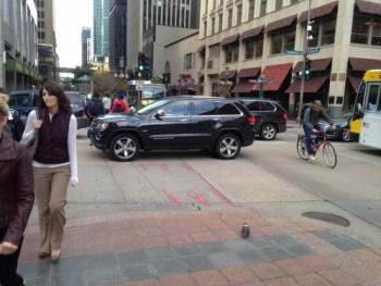 $512 of ungathered city revenue on Nicollet Mall. This photo taken after I made my way through the intersection of stand-still vehicles.