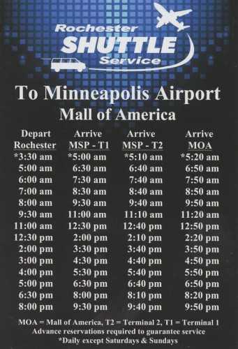 The current schedule for one of the two competing Rochester-MSP shuttle operators.