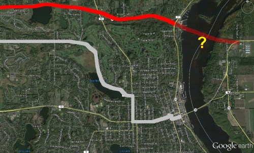 MN 96 rerouting, old route in grey and new route in red. Was MN 96 to extend across the river?