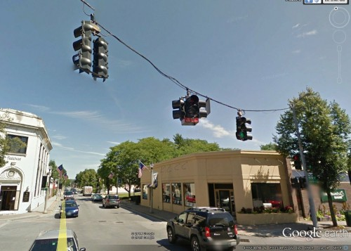 "Unusual two section bimodal in Bennington, VT. The red sign says ""No Right Turn on Red Light"""