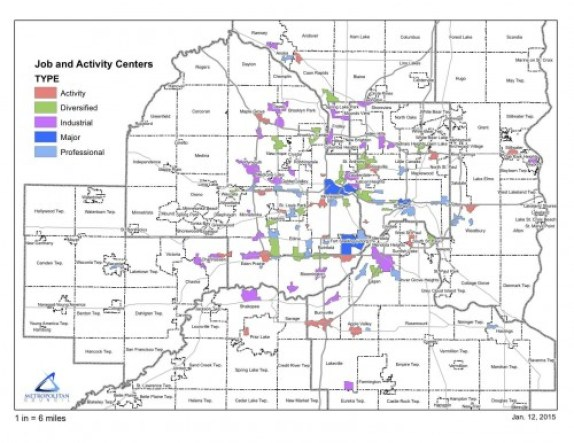Employment centers as mapped by the Met Council
